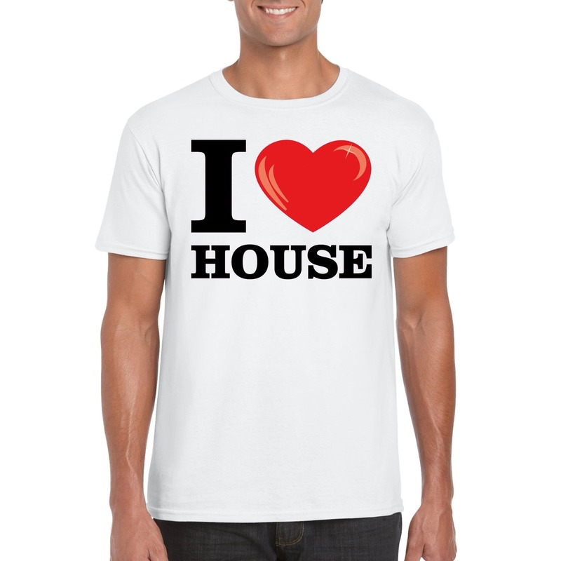 I love house t-shirt wit heren