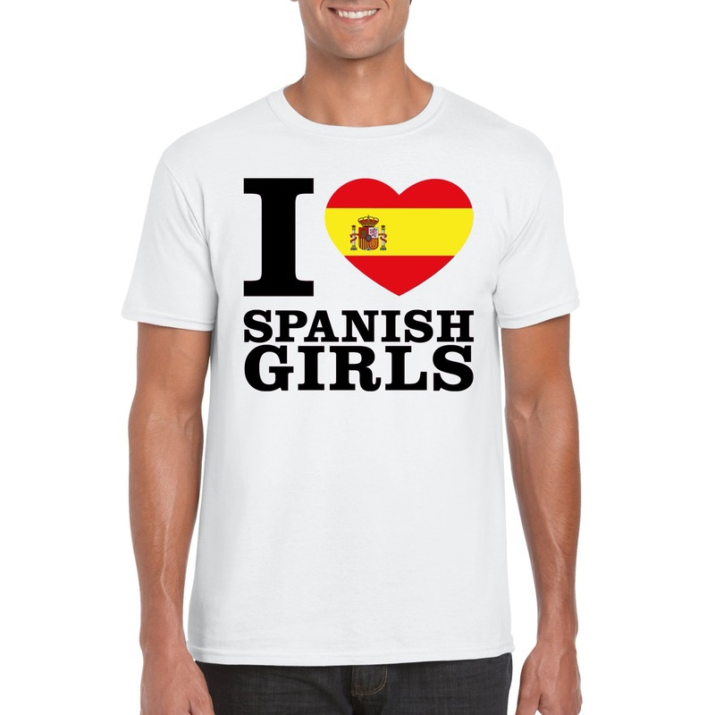 I love Spanish girls t shirt wit heren Shoppartners Hoge kwaliteit