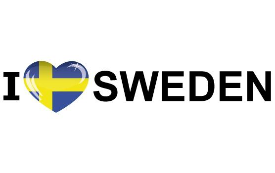 Landen versiering en vlaggen Shoppartners I Love Sweden sticker