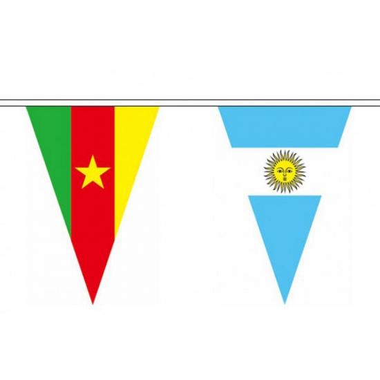 Geen Internationale landen vlaggetjes vlaggenlijn van 11 meter Landen versiering en vlaggen
