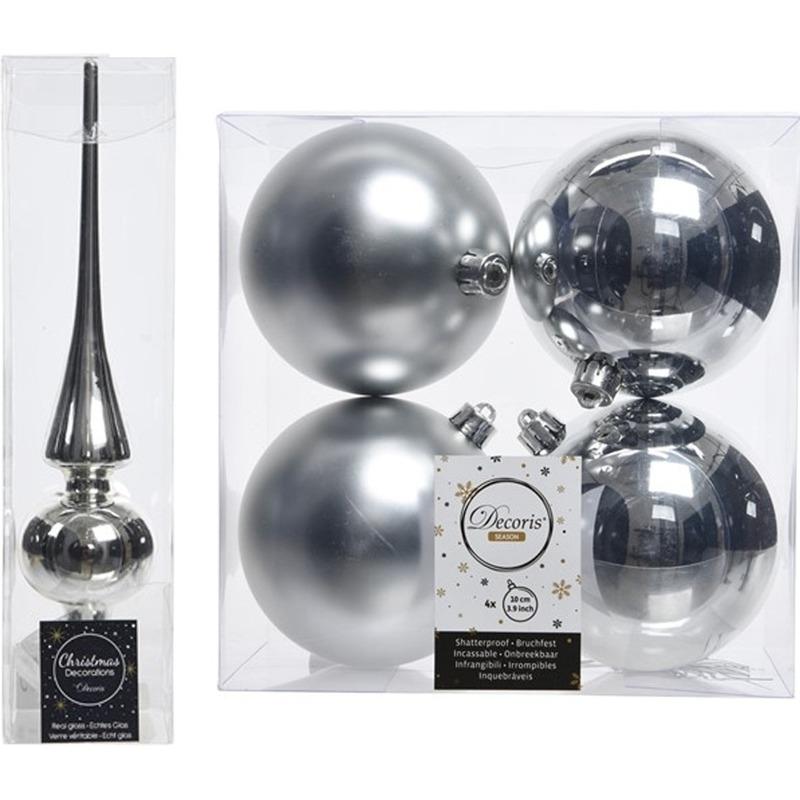 Kerstboom decoratie zilver piek en 4x kerstballen 10 cm