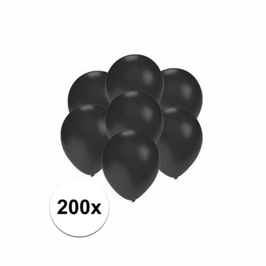 Kleine ballonnen zwart metallic 200 stuks