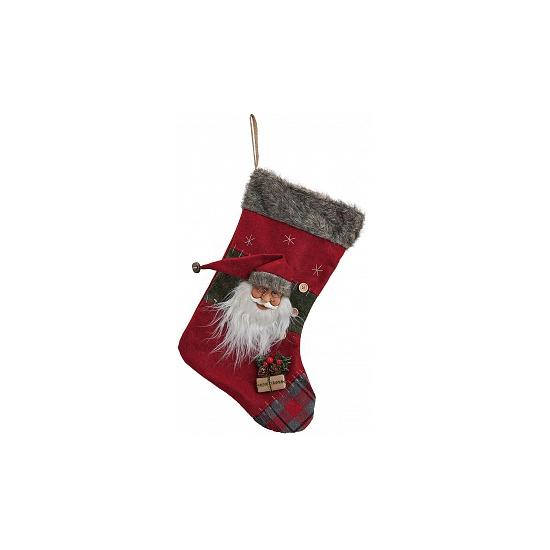 Luxe kerstsok met kerstman 44 cm