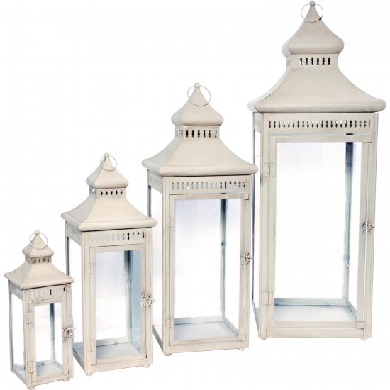 Metalen lantaarn wit 98 cm