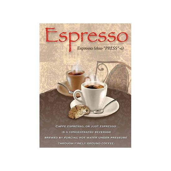Metalen muurplaat espresso 30 x 40 cm. grote decoratie plaat voor aan de muur met de tekst espresso en een ...