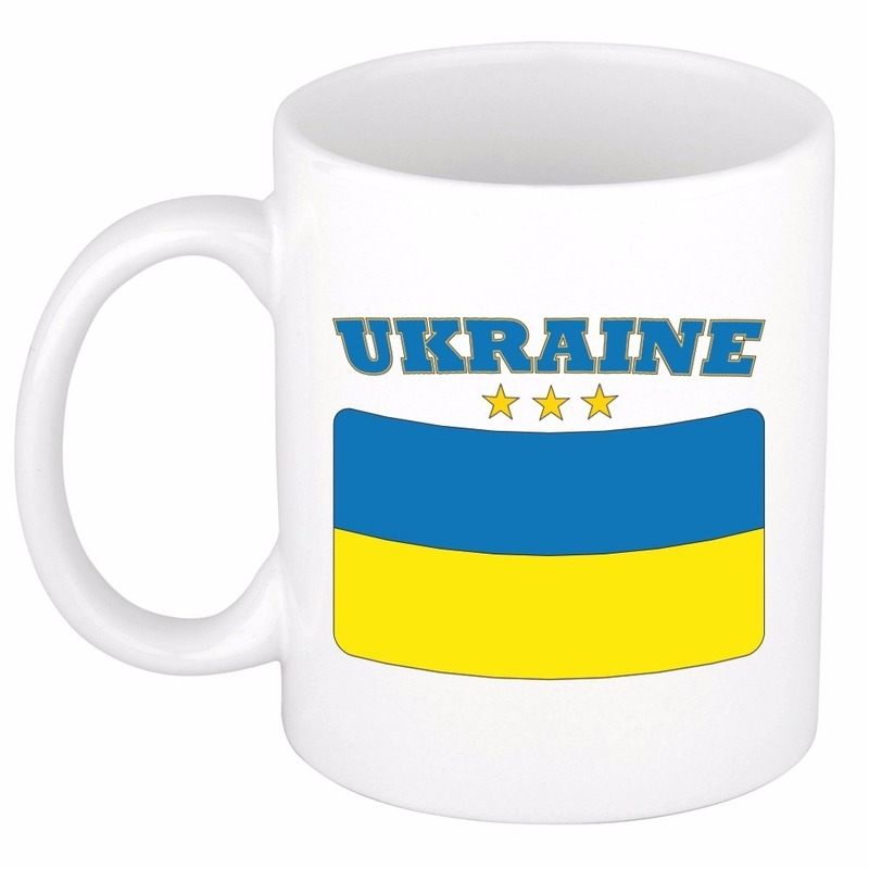 Mok beker Oekraiense vlag 300 ml Shoppartners Landen versiering en vlaggen