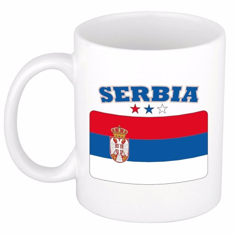 Shoppartners Mok beker Servische vlag 300 ml Landen versiering en vlaggen