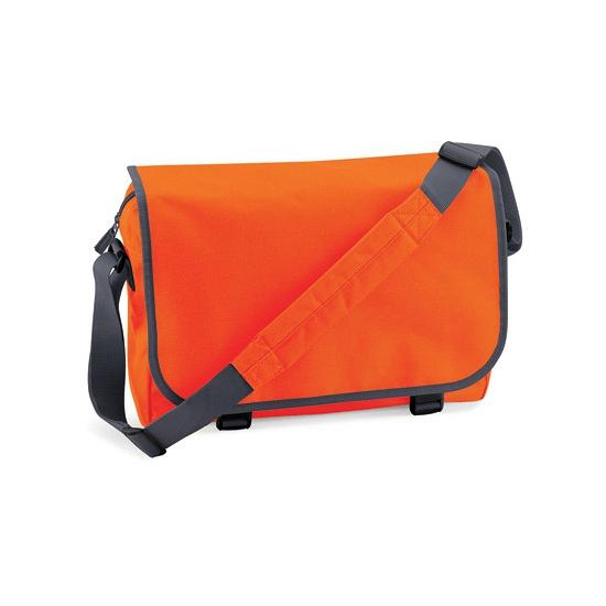 Oranje messenger aktetas met schouderband