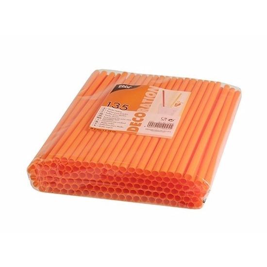 Oranje plastic rietjes 135 stuks