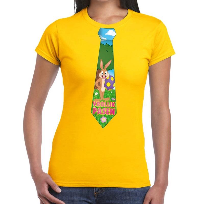Paashaas stropdas vrolijk Pasen t-shirt geel voor dames
