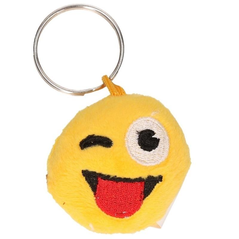 Pluche smiley crazy face sleutelhanger