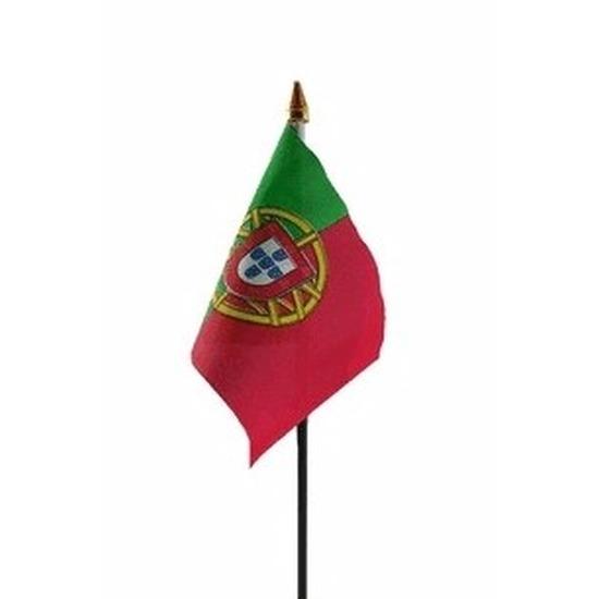 Portugal mini vlaggetje op stok 10 x 15 cm Geen Landen versiering en vlaggen
