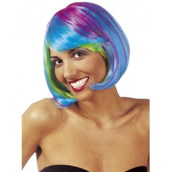 Pruik dames multicolour bobline