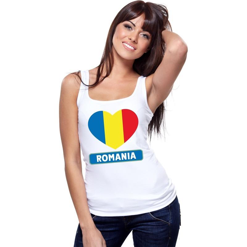 Landen versiering en vlaggen Shoppartners Roemenie hart vlag singlet shirt tanktop wit dames