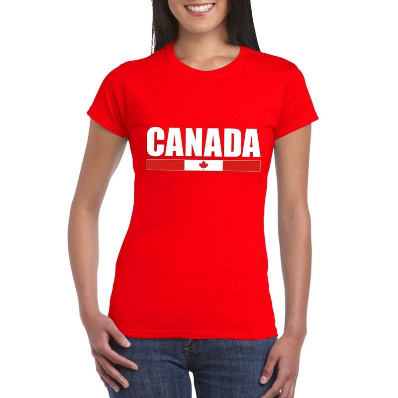 Landen versiering en vlaggen Shoppartners Rood Canada supporter t shirt voor dames