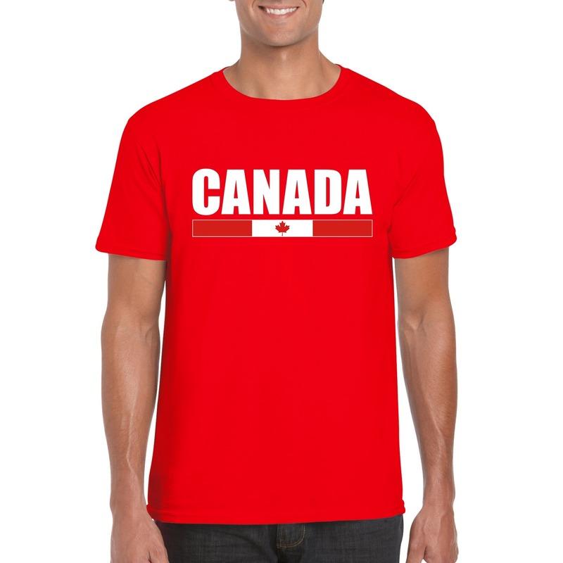 Rood Canada supporter t shirt voor heren Shoppartners Landen versiering en vlaggen
