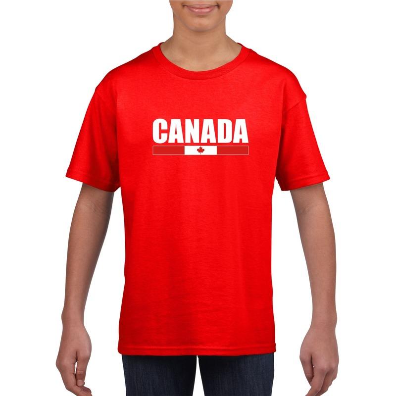 Landen versiering en vlaggen Shoppartners Rood Canada supporter t shirt voor kinderen