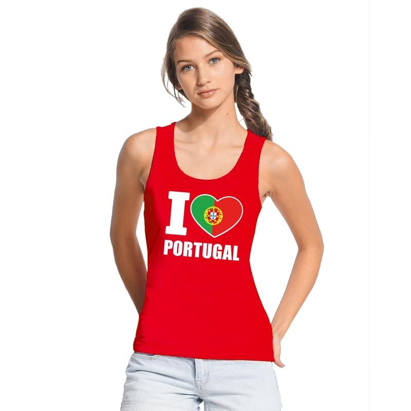 Rood I love Portugal fan singlet shirt tanktop dames Shoppartners Landen versiering en vlaggen