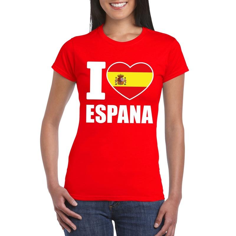 Landen versiering en vlaggen Shoppartners Rood I love Spanje fan shirt dames