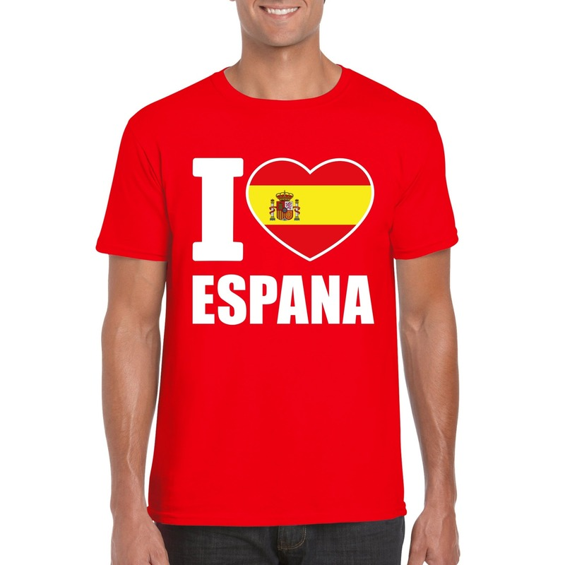 Rood I love Spanje fan shirt heren Shoppartners Geweldig
