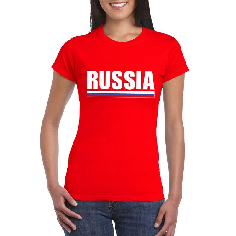 Rood Rusland supporter t shirt voor dames Shoppartners Landen versiering en vlaggen