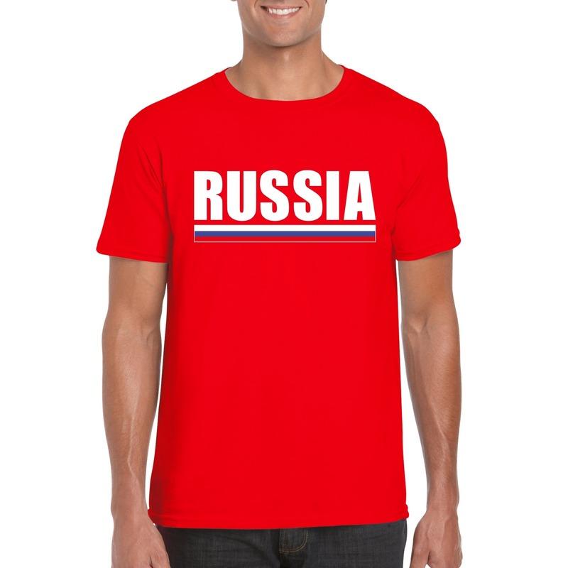 Shoppartners Rood Rusland supporter t shirt voor heren Landen versiering en vlaggen