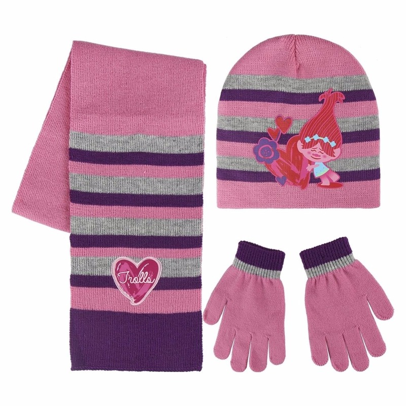 Roze Trolls winterset voor meisjes