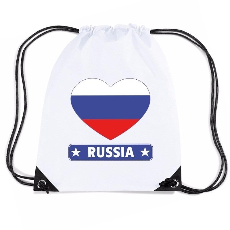 Rusland hart vlag nylon rugzak wit Shoppartners Landen versiering en vlaggen