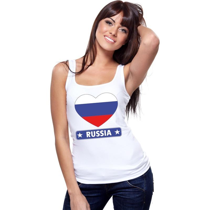 Landen versiering en vlaggen Shoppartners Rusland hart vlag singlet shirt tanktop wit dames