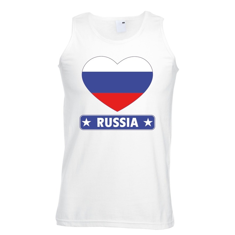 Shoppartners Rusland hart vlag singlet shirt tanktop wit heren Landen versiering en vlaggen
