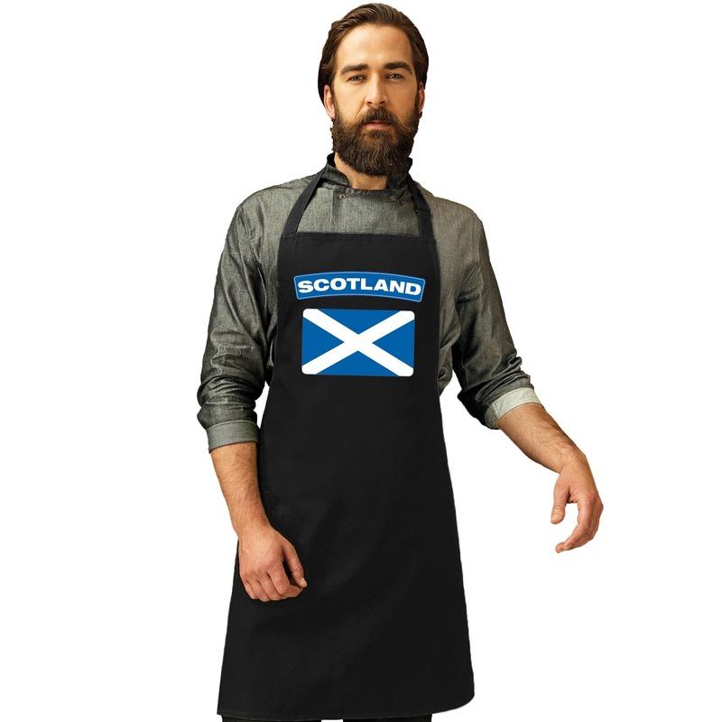 Shoppartners Schotland vlag barbecueschort keukenschort zwart volwassenen Landen versiering en