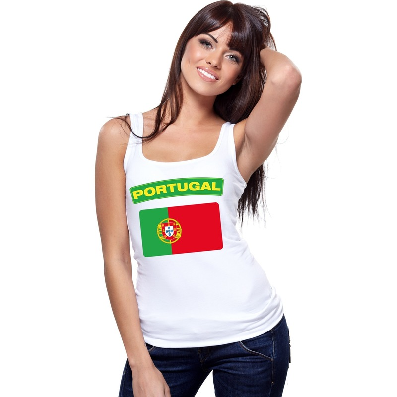 Landen versiering en vlaggen Shoppartners Singlet shirt tanktop Portugese vlag wit dames