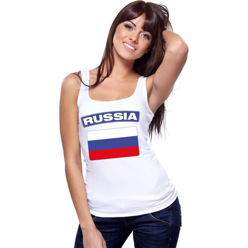 Landen versiering en vlaggen Singlet shirt tanktop Russische vlag wit dames