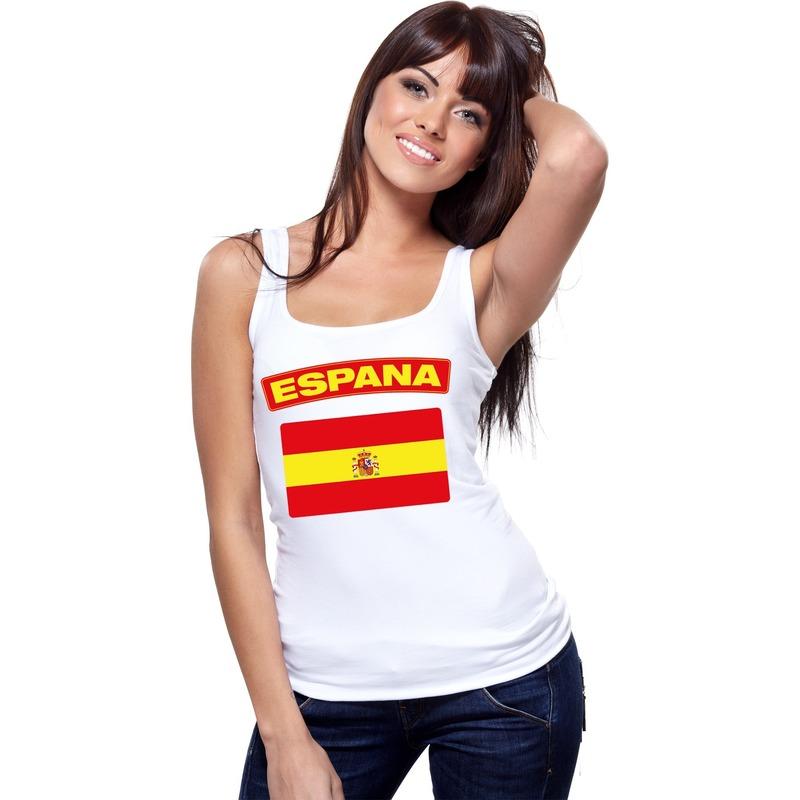 Singlet shirt tanktop Spaanse vlag wit dames Shoppartners Landen versiering en vlaggen
