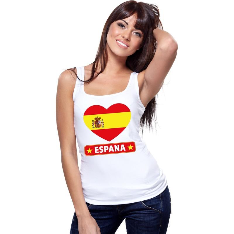 Landen versiering en vlaggen Shoppartners Spanje hart vlag singlet shirt tanktop wit dames
