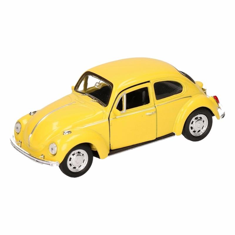 Speelgoed gele Volkswagen Kever classic auto 14,5 cm