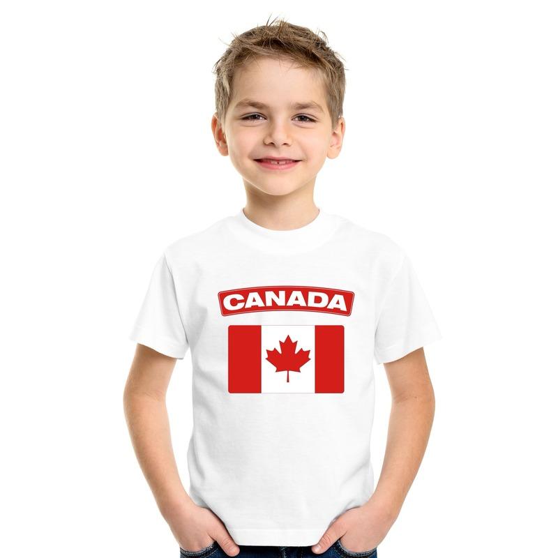 Landen versiering en vlaggen Shoppartners T shirt met Canadese vlag wit kinderen