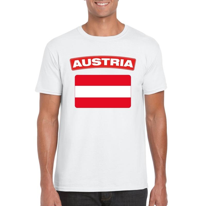 Landen versiering en vlaggen Shoppartners T shirt met Oostenrijkse vlag wit heren