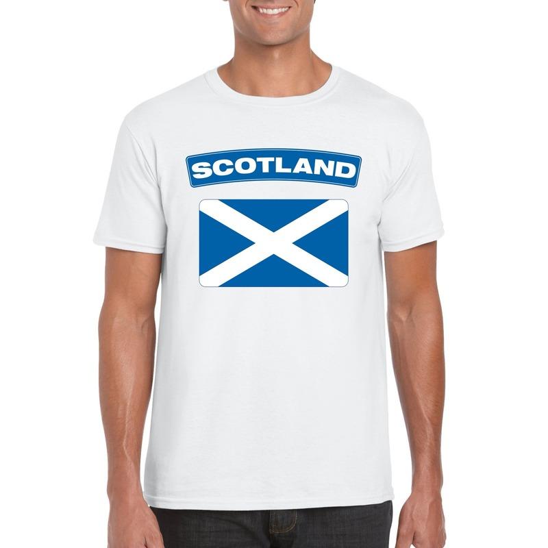 Landen versiering en vlaggen Shoppartners T shirt met Schotse vlag wit heren