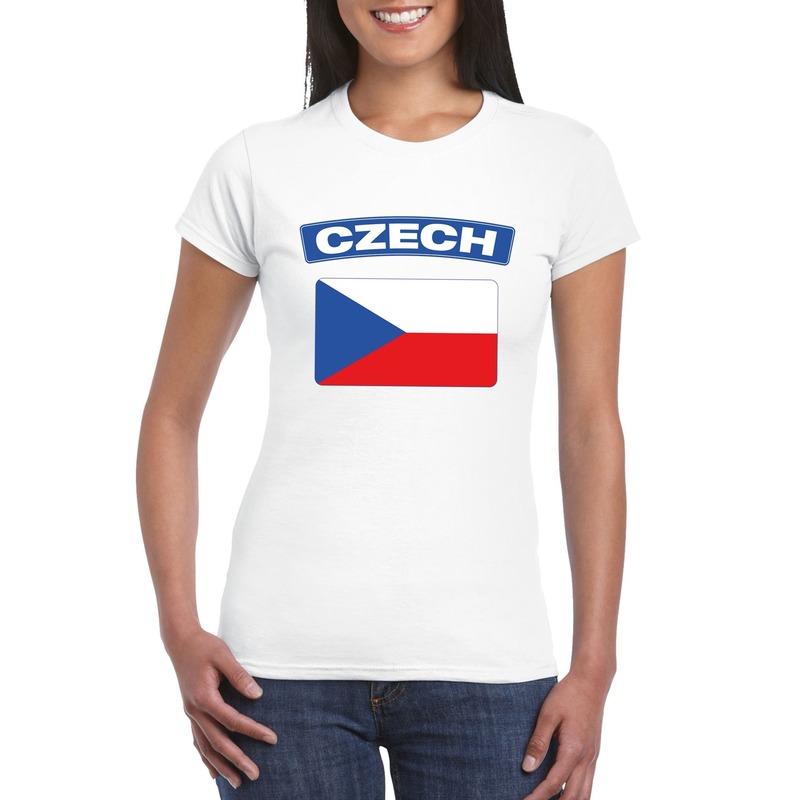T shirt met Tsjechische vlag wit dames Shoppartners nieuw