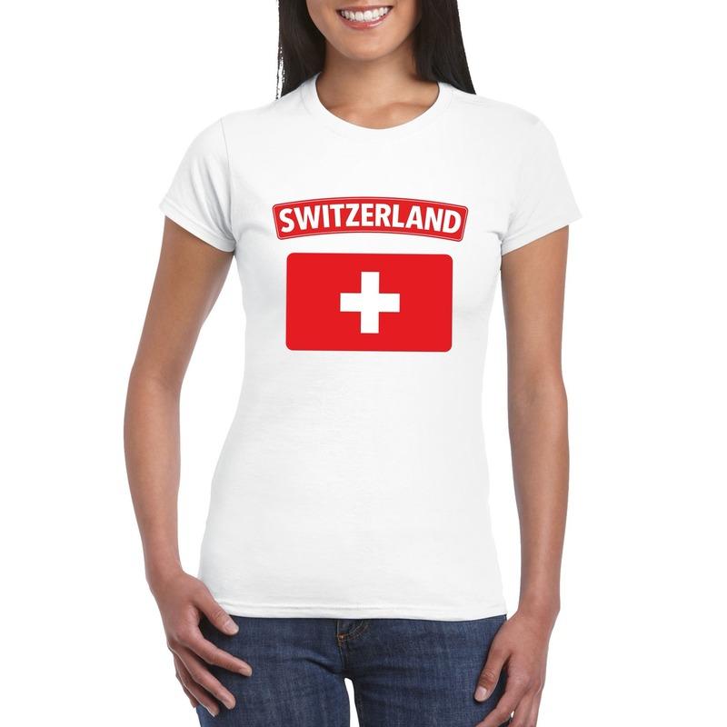 Landen versiering en vlaggen T shirt met Zwitserse vlag wit dames