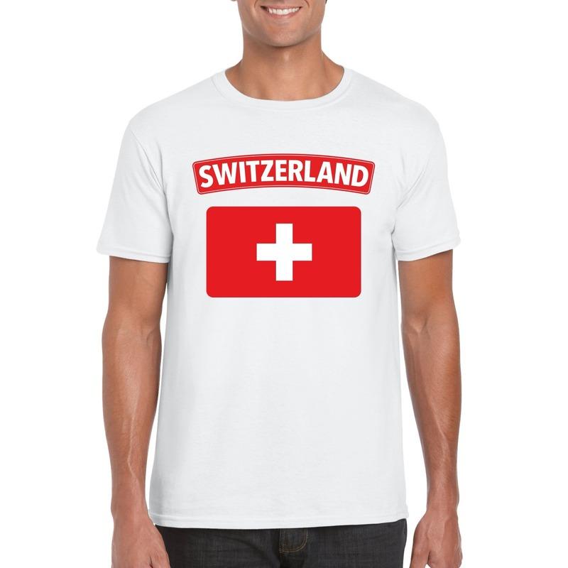 T shirt met Zwitserse vlag wit heren Shoppartners Landen versiering en vlaggen