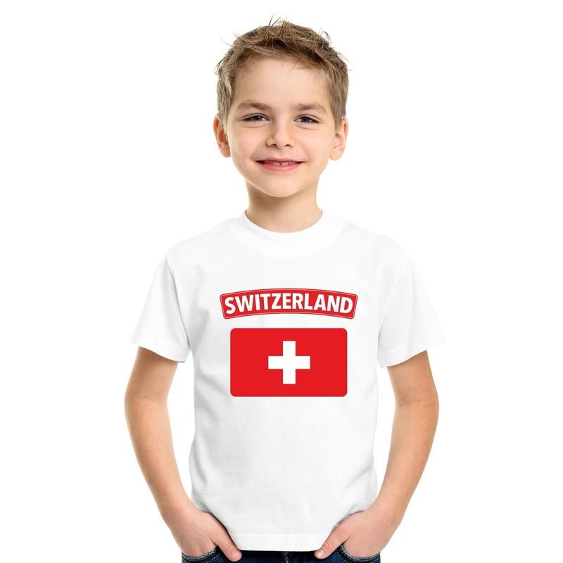 Shoppartners T shirt met Zwitserse vlag wit kinderen Landen versiering en vlaggen