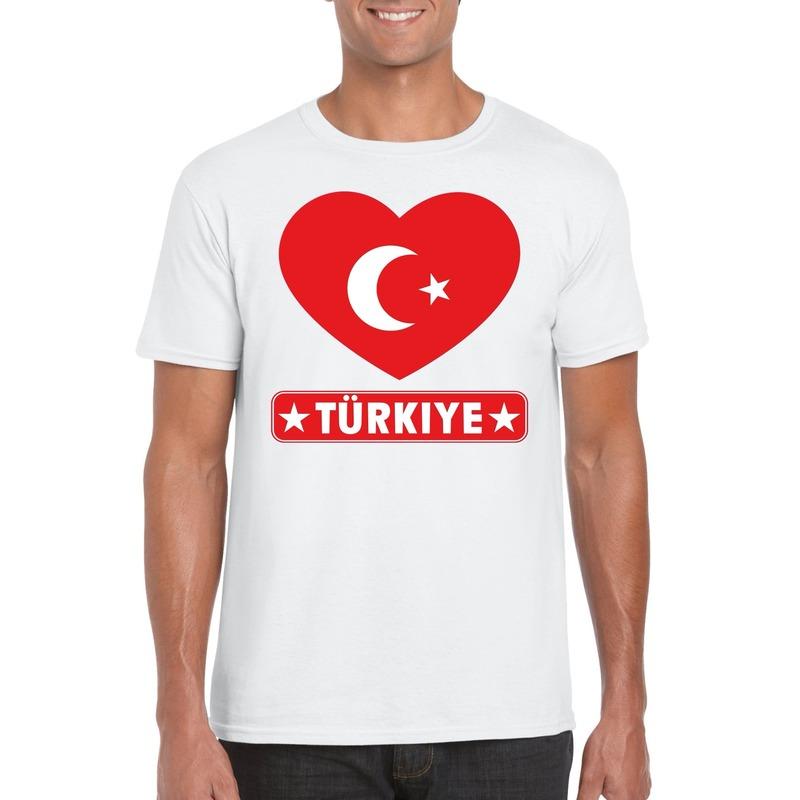 Landen versiering en vlaggen Turkije hart vlag t shirt wit heren
