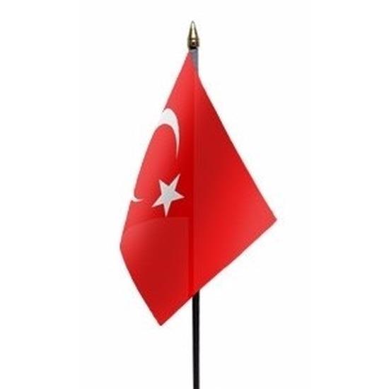 Turkije mini vlaggetje op stok 10 x 15 cm Geen gaafste producten