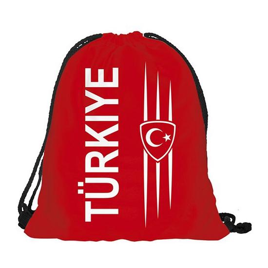 Landen versiering en vlaggen Geen Turkije rugtas met rijgkoord