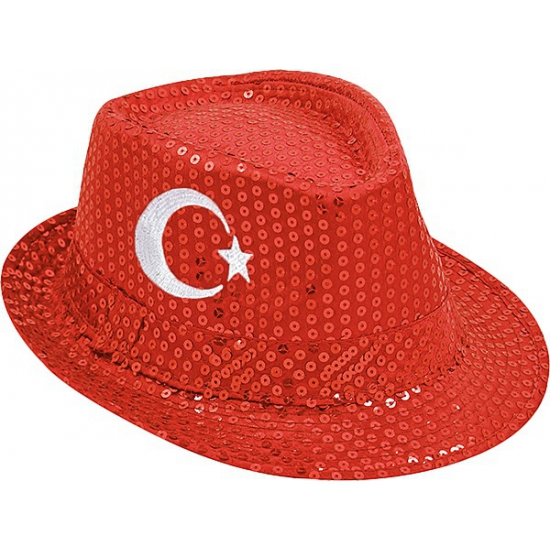 Turkije trilby hoed Geen Landen versiering en vlaggen