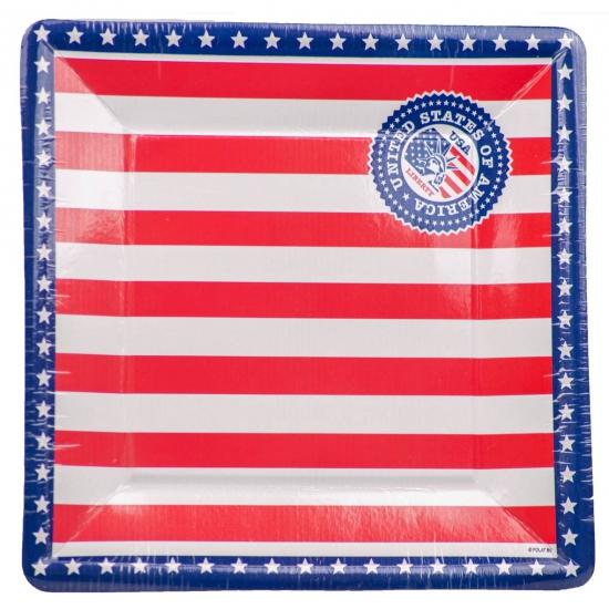 Landen versiering en vlaggen USA thema borden 8 stuks