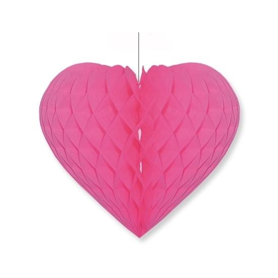 Valentijn Fuchsia roze decoratie hart 15 cm