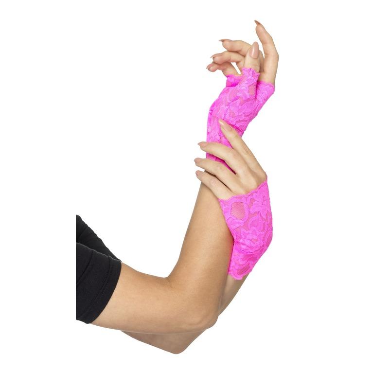 Vingerloze neon roze handschoenen van kant